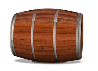 Holzfass liegend freigestellt