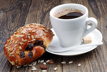 Cup of coffee and sweet buns
