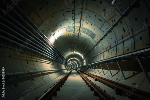 In de dag underground metro line on construction