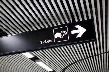 tickets direction sign