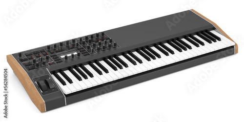 black synthesizer isolated on white background