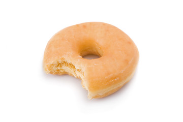 Bitten doughnut or donut isolated on white background