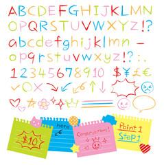 手書き色鉛筆風アルファベット 数字 記号