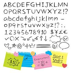 手書き鉛筆風アルファベット 数字 記号
