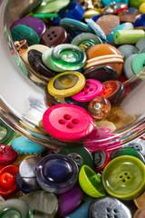 Jar of vintage buttons, detail