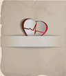 Vintage Heart, cardiogram concept.
