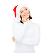 thinking and smiling woman in santa helper hat