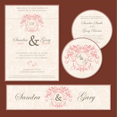 Beautiful vintage wedding invitation cards