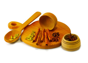 spices in a wooden bowl