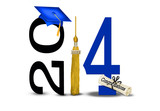 Blue 2014 graduation with gold tassel