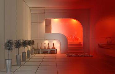 Progetto Bagno Doccia Sanitari CAD 3d Rosso