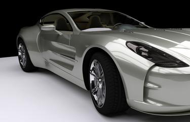 Ein silbergrauer Luxus Sportwagen