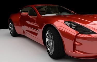 Detailansicht roter Sportwagen