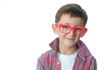 Portrait of a happy young boy in spectacles.