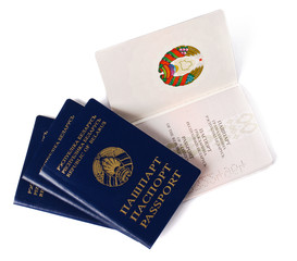 four belarusian passports on a white background