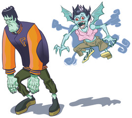 Teenage Halloween Monsters Vector Clip Art