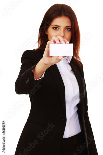 Businesswoman holding a banner and looking at camera
