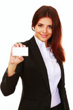 Happy beautiful businesswoman holding a blank card