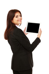 businesswoman showing a display of electronic tablet