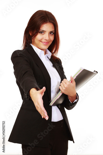 Happy young businesswoman  ready to handshake