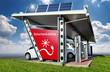 Große Solartankstelle mit Elektroautos Solarenergie Landschaft