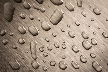 brushed metal rain drops