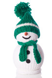 snowman with green scarf and hat