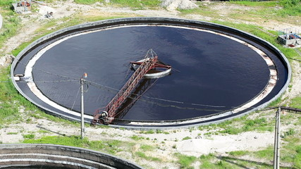 Huge round tanks for waste water treatment with sewage