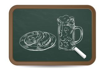 Oktoberfest Kreidezeichnung • Weißbier & Weißwurst
