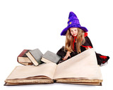 Witch little girl holding  book.