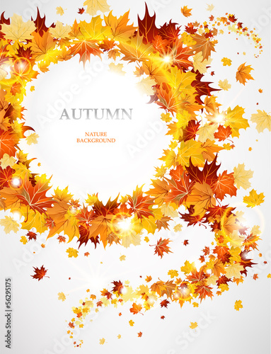 Abstract background with autumnal leaves