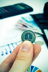 Polish coin in hand. Savings and banking concept