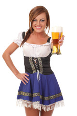 Beautiful  young smiling woman giving beer