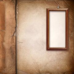 Framework for photo over old paper album cover