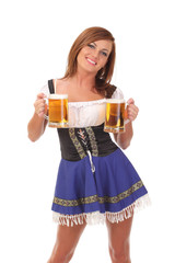 Young attractive woman holding a beer
