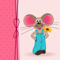 mouse with flower - vector illustration
