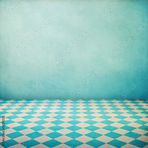 Vintage interior grunge background with checked floor