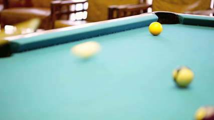 Stock video footage of a game of billiards