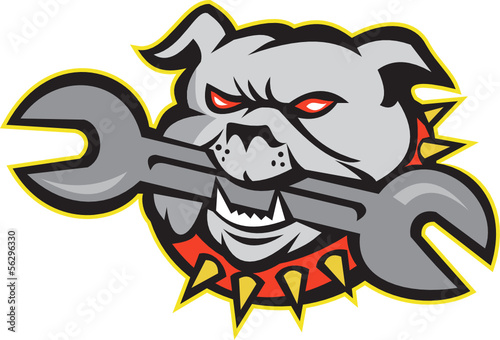 Bulldog Dog Spanner Head Mascot