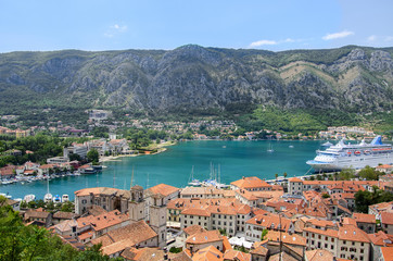 View of kotor old town from Lovcen mountain in Kotor, Montenegro
