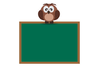 Cute Owl stand on school wooden board