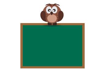 Cute Owl stand on school wooden board