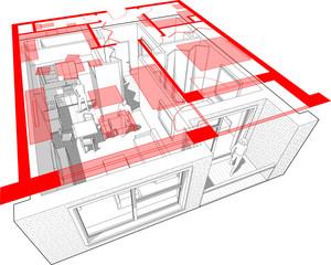 Perspective cut-away diagram of a 1-bedroom apartment