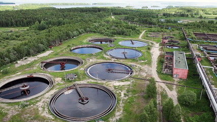 Water recycling tanks on sewage treatment plant