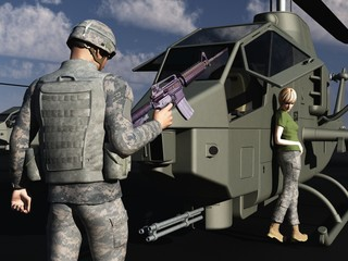 GI flirting with female helicopter mechanic