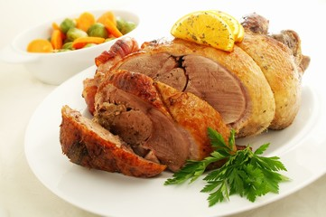 Roast duck with vegetables