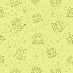 Frog seamless background. Vector illustration.