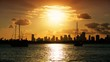 Yachts silhouetted against  Miami Skyline at sunset, USA