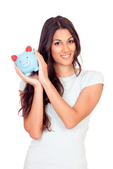 Casual girl with a piggy-bank