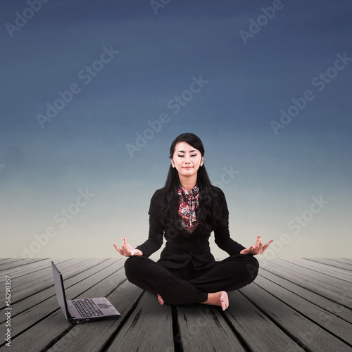 Businesswoman relaxing outdoor